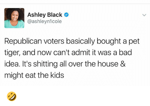 ashleys: Ashley Black C  @ashleyn1cole  Republican voters basically bought a pet  tiger, and now can't admit it was a bad  idea. It's shitting all over the house &  might eat the kids 🤣