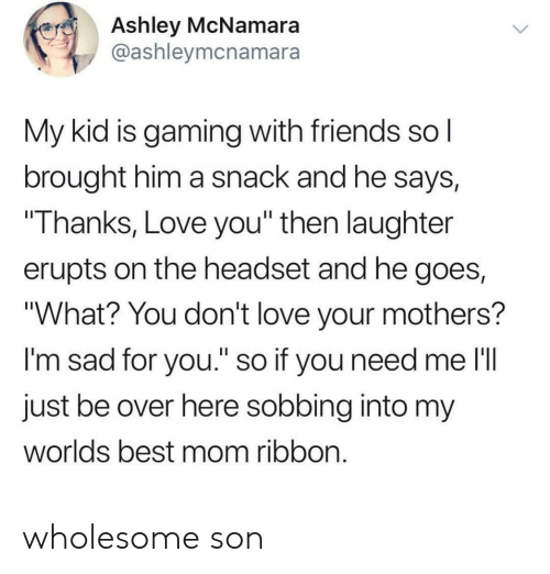 "headset: Ashley McNamara  @ashleymcnamara  My kid is gaming with friends sol  brought him a snack and he says,  Thanks, Love you"" then laughter  erupts on the headset and he goes,  ""What? You don't love your mothers?  I'm sad for you."" so if you need me l'll  just be over here sobbing into my  worlds best mom ribbon wholesome son"