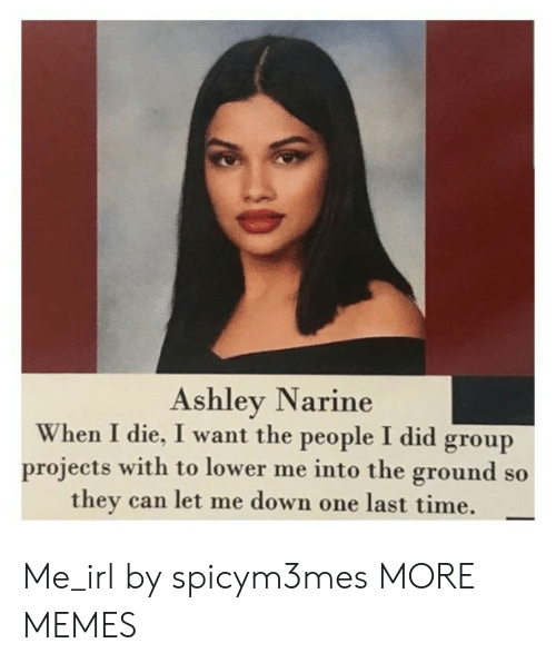 Let Me Down: Ashley Narine  When I die, I want the people I did group  projects with to lower me into the ground so  they can let me down one last time. Me_irl by spicym3mes MORE MEMES