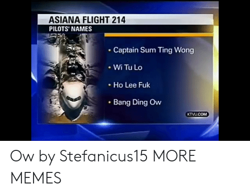 Pilots: ASIANA FLIGHT 214  PILOTS' NAMES  Captain Sum Ting Wong  .WiTuLo  Ho Lee Fuk  Bang Ding Ow Ow by Stefanicus15 MORE MEMES