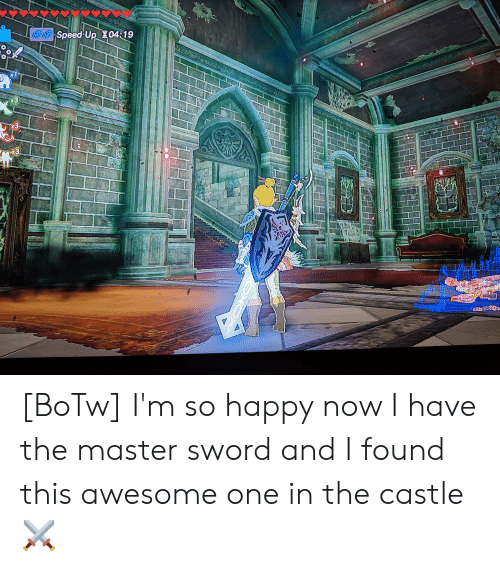 Happy, Awesome, and Sword: ASpeed Up Z04:19  x1  x3  3  x3 [BoTw] I'm so happy now I have the master sword and I found this awesome one in the castle ⚔️