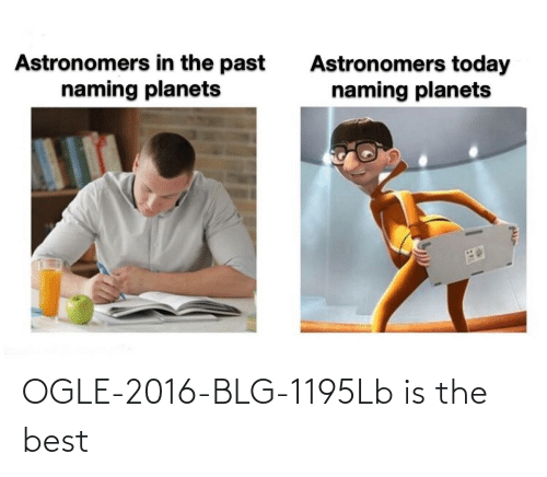 In The Past: Astronomers in the past  naming planets  Astronomers today  naming planets OGLE-2016-BLG-1195Lb is the best