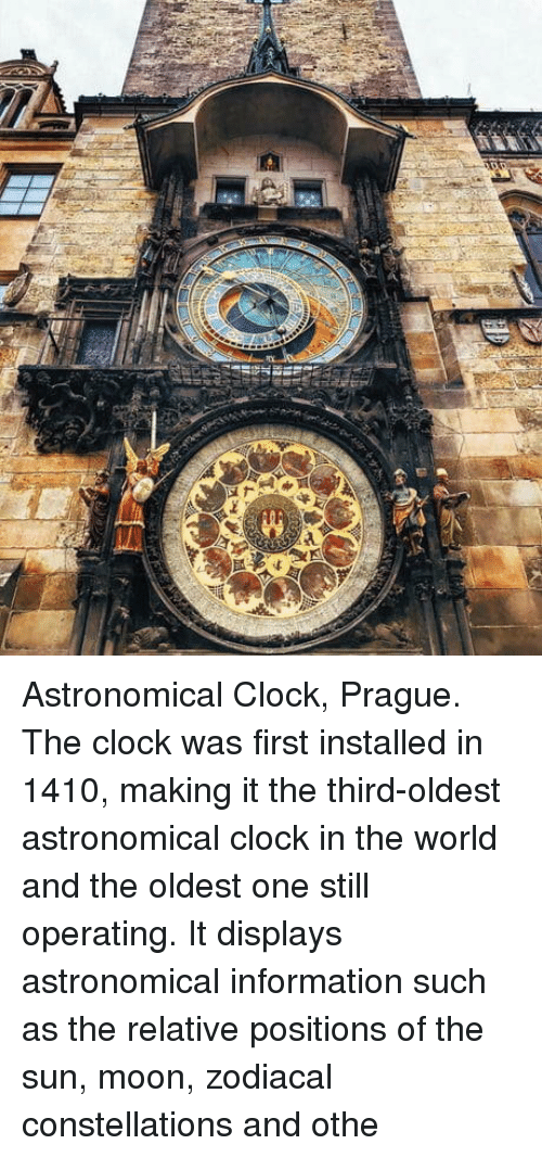 Clock In: Astronomical Clock, Prague. The clock was first installed in 1410, making it the third-oldest astronomical clock in the world and the oldest one still operating. It displays astronomical information such as the relative positions of the sun, moon, zodiacal constellations and othe