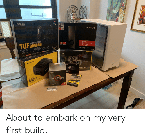 Link, Power, and Search: ASUS  AURA  Gar abmlarthe\ aof b  IN SEARCH OF INCREDIBLE  SYNC  Gane P Fm  With Purchata  BADKOM  XFX  TUFGAMING  X570-PLUS wI-FD  MOTHERBOARD  8.  AMDA  RADEON RX  4.0  GB  PCle  5700  7 NM I FIDELITY FX I FREESYNC 2 HOR  TUF GAMING  RDNA ARCHITECTURE  HDMI 4.0  dts  CORSAIR  AMDA  Cumee  AMOSY  EX570  HYDROSERIES  CORSAIR  GORMAIR  LINK  CORSAIR  HRL COMB  MSUNG  1TB  1100i PRO RGB  SCHPPA  LOW NOISE 240MH RGB LIQUID CPu COOLER  AND SSD  'O EVONV  AMDA  NVME M.2  p CORSAIR  Performance ATX Power Supply  Alimentation ATX Hautes Performances  1000MNE  RM SERIES  RYZEN  VENGERNCE  RM650  VENGEANCE  LPX  * GEN PROCESSOR  PEle 40 READY  TUF GAMING  CORSAIR About to embark on my very first build.