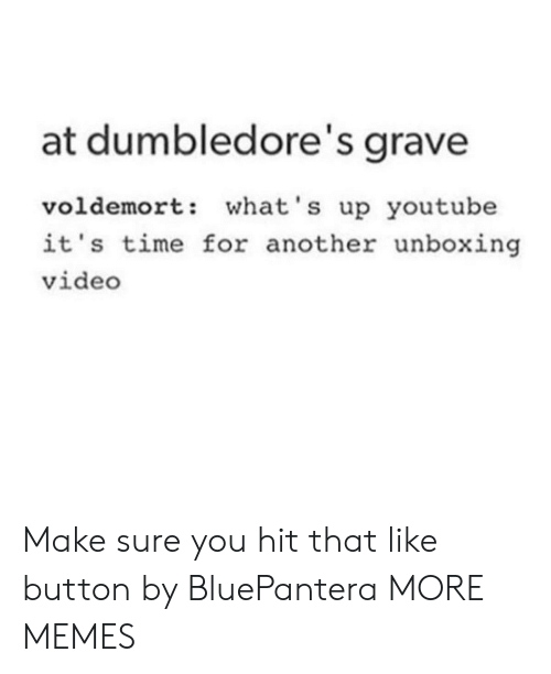 Gravely: at dumbledore's grave  voldemort: what's up youtube  it's time for another unboxing  video Make sure you hit that like button by BluePantera MORE MEMES