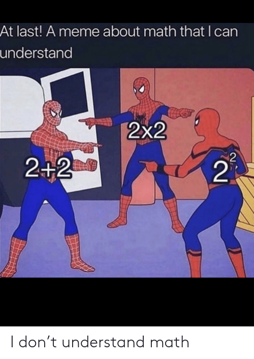 2 2: At last! A meme about math that I can  understand  2x2  2  2+2  21 I don't understand math
