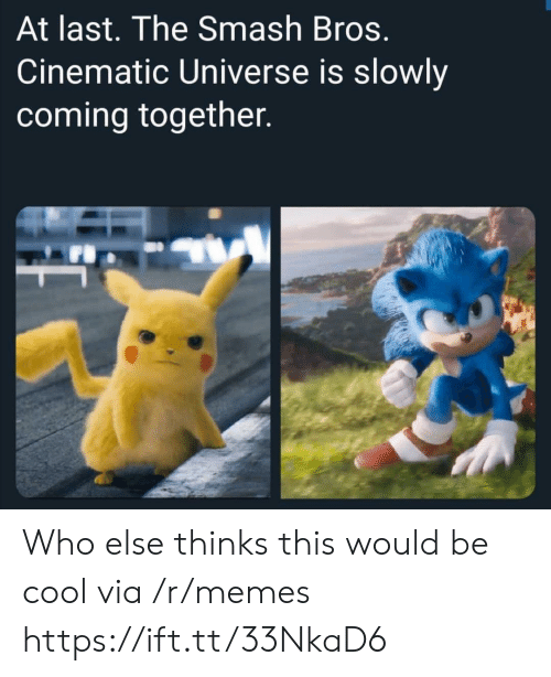 Memes, Smashing, and Cool: At last. The Smash Bros.  Cinematic Universe is slowly  coming together. Who else thinks this would be cool via /r/memes https://ift.tt/33NkaD6