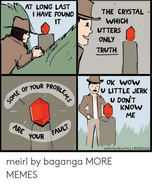 Dank, Memes, and Target: AT LONG LAST  I HAVE FOUND  THE CRYSTAL  WHICH  UTTERS  ONLY  TRUTH  IT  OK wow  /u LITTLE JERK  U DON'T  OF YOUR PROBI  KNOW  ME  OUR FAULT  @NATHANWPYLE/BUZZFEED meirl by baganga MORE MEMES