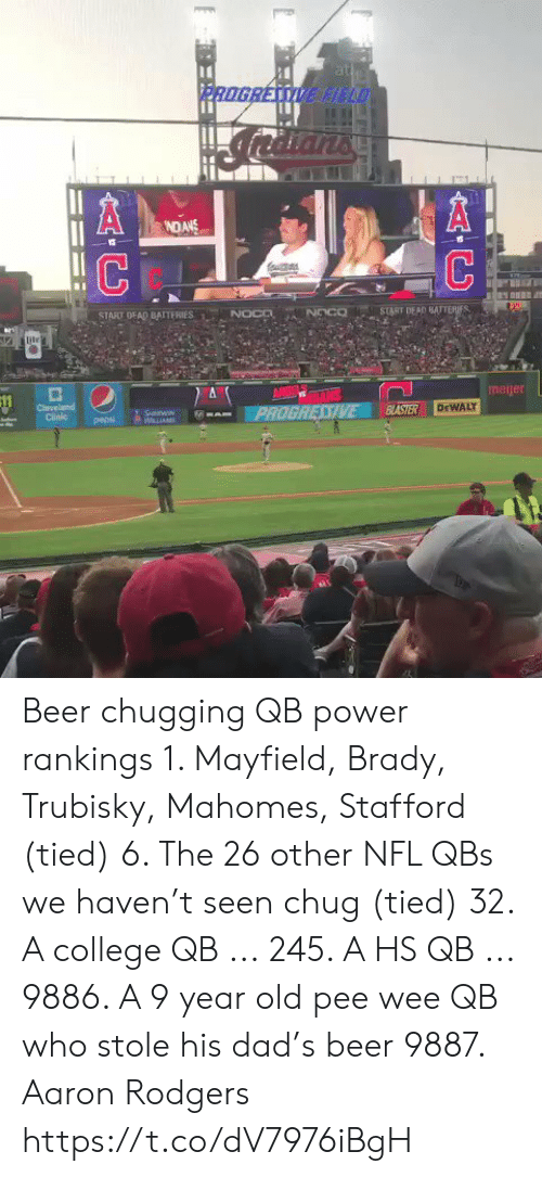 chug: at  PROGRESSIVE HELD  NDANS  NOCD  START DEAD BATTERIES  START DEAD BAITERIES  NOco  ile  ANGE TALS  PROGRESSIVE  meijer  Cleveland  Clinic  BASTER  DEWALY  SnWIN  WLLIAM  pepsi  AC Beer chugging QB power rankings   1. Mayfield, Brady, Trubisky, Mahomes, Stafford (tied)  6. The 26 other NFL QBs we haven't seen chug (tied) 32. A college QB ... 245. A HS QB ... 9886. A 9 year old pee wee QB who stole his dad's beer 9887. Aaron Rodgers https://t.co/dV7976iBgH