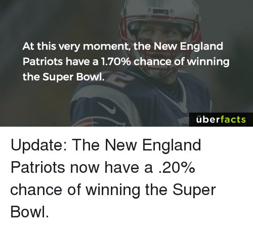 New England Patriot: At this very moment, the New England  Patriots have a 1.7o% chance of winning  the Super Bowl.  uber  facts Update: The New England Patriots now have a .20% chance of winning the Super Bowl.