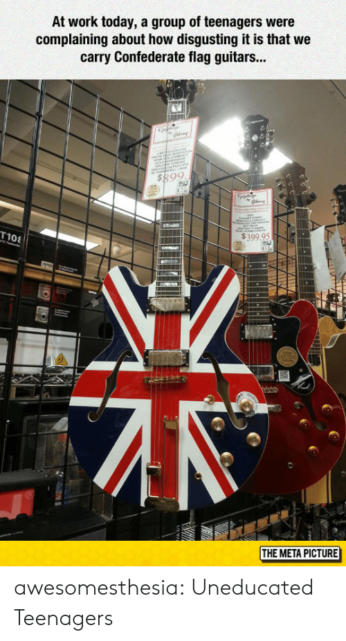 Confederate: At work today, a group of teenagers were  complaining about how disgusting it is that we  carry Confederate flag guitars...  $399,95N  MI  THE META PICTURE awesomesthesia:  Uneducated Teenagers