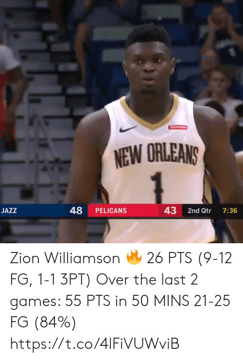 Memes, Games, and New Orleans: ATARAINS  NEW ORLEANS  48  43  JAZZ  PELICANS  2nd Qtr  7:36 Zion Williamson 🔥 26 PTS (9-12 FG, 1-1 3PT)  Over the last 2 games:  55 PTS in 50 MINS 21-25 FG (84%)   https://t.co/4lFiVUWviB