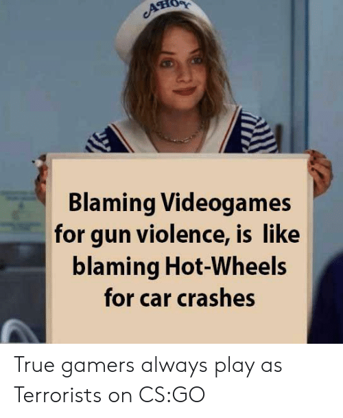 Crashes: ATIO  Blaming Videogames  for gun violence, is like  blaming Hot-Wheels  for car crashes True gamers always play as Terrorists on CS:GO