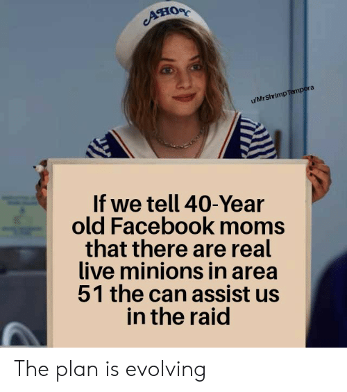 Facebook, Moms, and Live: ATIOR  u/MrShrimp Tempora  If we tell 40-Year  old Facebook moms  that there are real  live minions in area  51 the can assist us  in the raid The plan is evolving