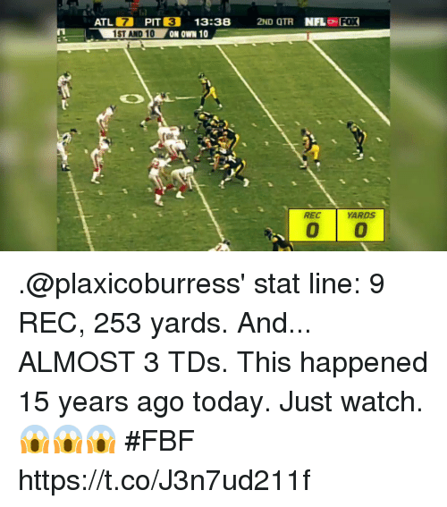 Otr: ATL 7 PIT  1ST AND 10  3  13:38 2ND OTR NFLo FOX  REC  ARDS .@plaxicoburress' stat line: 9 REC, 253 yards.  And... ALMOST 3 TDs.  This happened 15 years ago today.  Just watch. 😱😱😱 #FBF https://t.co/J3n7ud211f