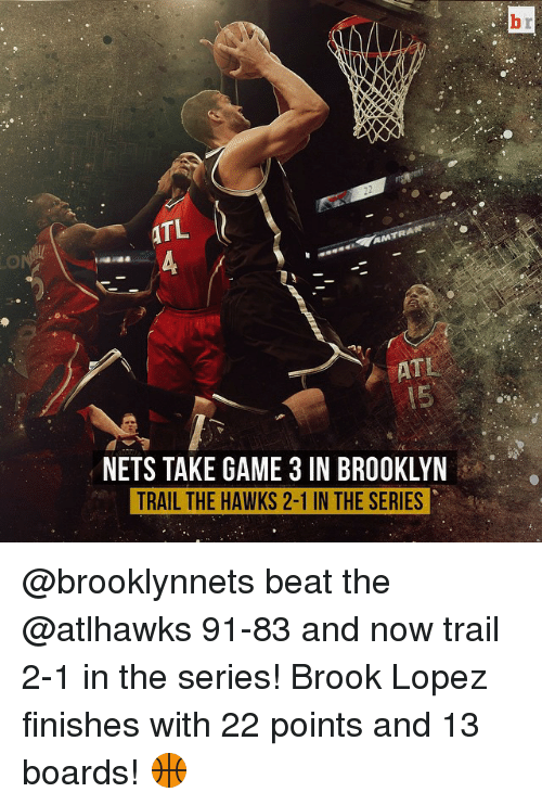 Brook Lopez: ATL  AMTRA  NETS TAKE GAME 3 IN BROOKLYN  TRAIL THE HAWKS 2-1 IN THE SERIES @brooklynnets beat the @atlhawks 91-83 and now trail 2-1 in the series! Brook Lopez finishes with 22 points and 13 boards! 🏀