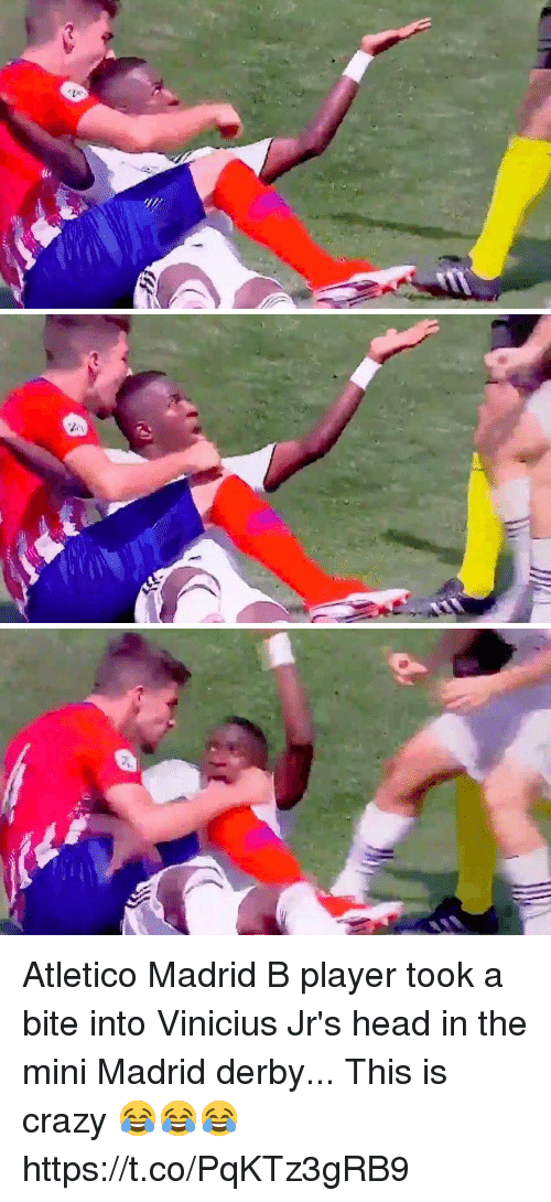 This Is Crazy: Atletico Madrid B player took a bite into Vinicius Jr's head in the mini Madrid derby... This is crazy 😂😂😂 https://t.co/PqKTz3gRB9