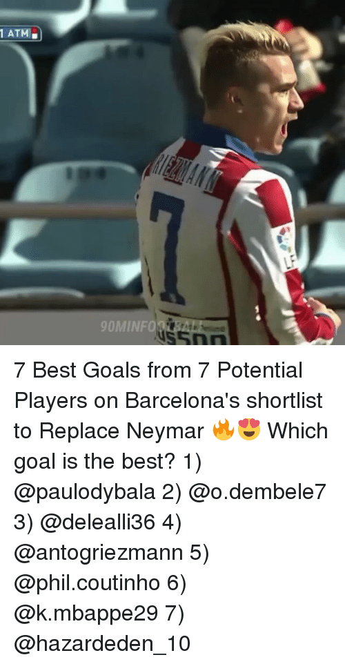 ♂: ATM  OMINFOO 7 Best Goals from 7 Potential Players on Barcelona's shortlist to Replace Neymar 🔥😍 Which goal is the best? 1) @paulodybala 2) @o.dembele7 3) @delealli36 4) @antogriezmann 5) @phil.coutinho 6) @k.mbappe29 7) @hazardeden_10