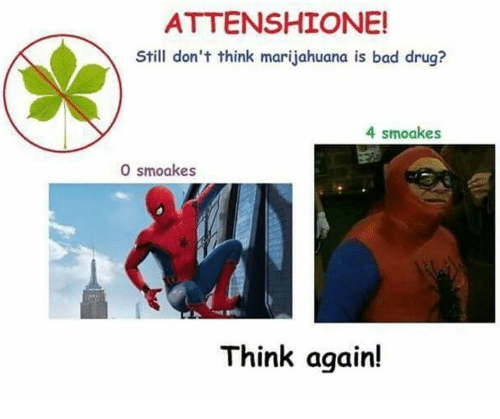 Bad, Drug, and Think: ATTENSHIONE!  Still don't think marijahuana is bad drug?  4 smoakes  0 smoakes  Think again!