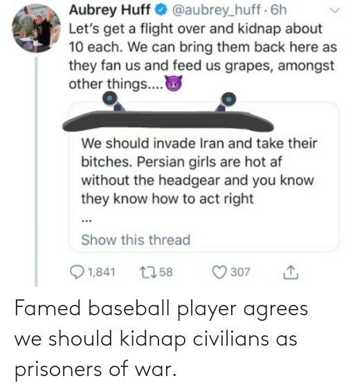 aubrey: Aubrey Huff O @aubrey_huff 6h  Let's get a flight over and kidnap about  10 each. We can bring them back here as  they fan us and feed us grapes, amongst  other things..  We should invade Iran and take their  bitches. Persian girls are hot af  without the headgear and you know  they know how to act right  Show this thread  Q 1,841  O 307  2758 Famed baseball player agrees we should kidnap civilians as prisoners of war.