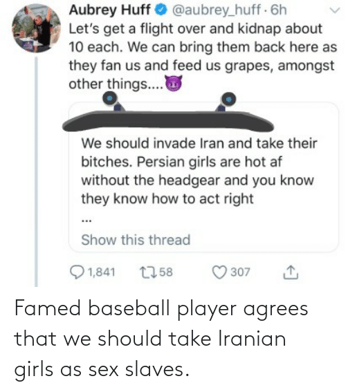 aubrey: Aubrey Huff O @aubrey_huff 6h  Let's get a flight over and kidnap about  10 each. We can bring them back here as  they fan us and feed us grapes, amongst  other things..  We should invade Iran and take their  bitches. Persian girls are hot af  without the headgear and you know  they know how to act right  Show this thread  Q 1,841  O 307  2758 Famed baseball player agrees that we should take Iranian girls as sex slaves.