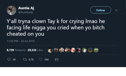 Jul: Auntie Aj  Follow  @AuntiexAj  Y'all tryna clown Tay k for crying Imao he  facing life nigga you cried when yo bitch  cheated on you  11:59 PM - 20 Jul 2019  8,739 Retweets  29,533 Likes  17 8.7K  59  Зок