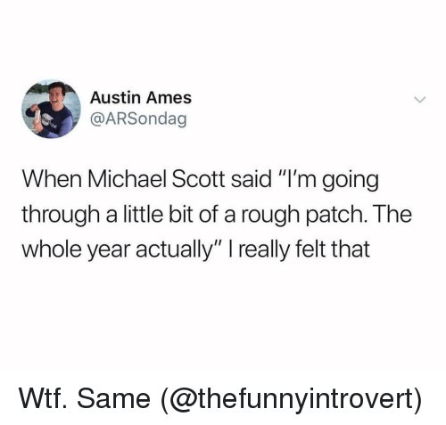 """Michael Scott: Austin Ames  @ARSondag  When Michael Scott said """"I'm going  through a little bit of a rough patch. The  whole year actually"""" really felt that Wtf. Same (@thefunnyintrovert)"""