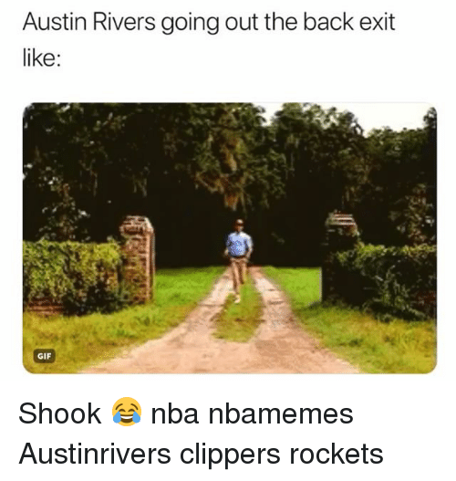 Basketball, Gif, and Nba: Austin Rivers going out the back exit  like:  GIF Shook 😂 nba nbamemes Austinrivers clippers rockets