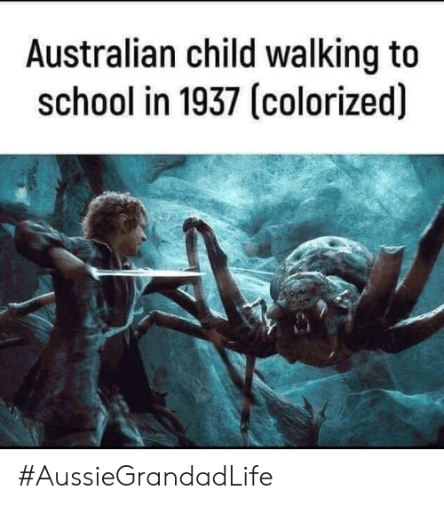 Memes, School, and Australian: Australian child walking to  school in 1937 (colorized) #AussieGrandadLife