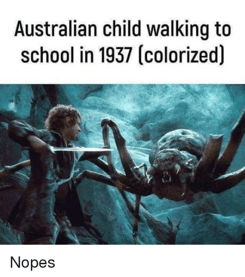 Nopes: Australian child walking to  school in 1937 (colorized) Nopes