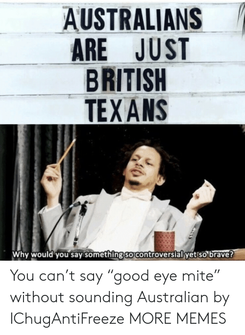 "sounding: AUSTRALIANS  ARE JUST  BRITISH  TEXANS  Why would you say.something so controverslal yet so brave? You can't say ""good eye mite"" without sounding Australian by IChugAntiFreeze MORE MEMES"