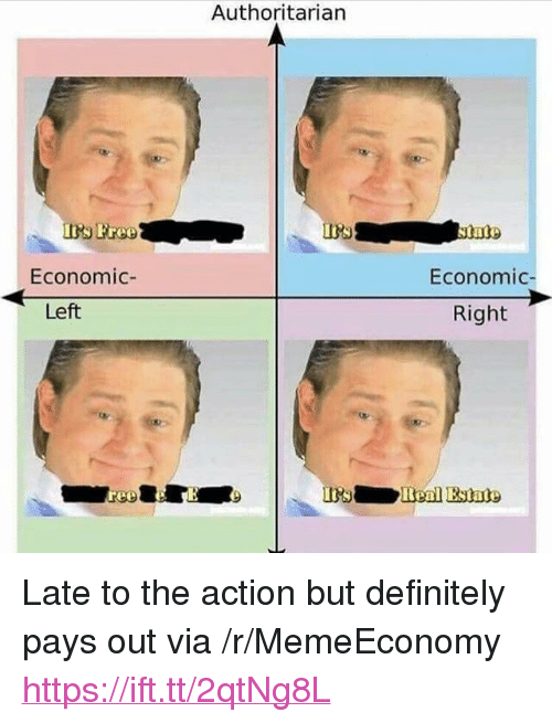 """Definitely, Free, and Via: Authoritarian  Free  Economic-  Economic  Left  Right  Benl Estate <p>Late to the action but definitely pays out via /r/MemeEconomy <a href=""""https://ift.tt/2qtNg8L"""">https://ift.tt/2qtNg8L</a></p>"""