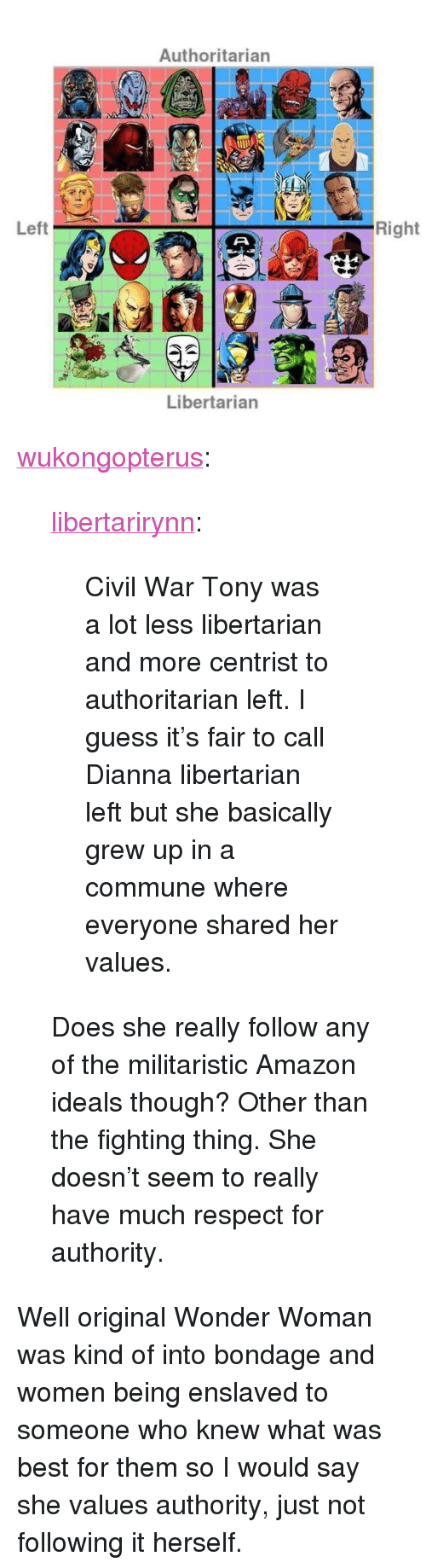 """Amazon, Respect, and Tumblr: Authoritarian  Left  Right  Libertarian <p><a href=""""http://wukongopterus.tumblr.com/post/167791668842/libertarirynn-civil-war-tony-was-a-lot-less"""" class=""""tumblr_blog"""">wukongopterus</a>:</p>  <blockquote><p><a href=""""https://libertarirynn.tumblr.com/post/167790975239/civil-war-tony-was-a-lot-less-libertarian-and-more"""" class=""""tumblr_blog"""">libertarirynn</a>:</p>  <blockquote><p>Civil War Tony was a lot less libertarian and more centrist to authoritarian left. I guess it's fair to call Dianna libertarian left but she basically grew up in a commune where everyone shared her values.</p></blockquote>  <p>Does she really follow any of the militaristic Amazon ideals though? Other than the fighting thing. She doesn't seem to really have much respect for authority. </p></blockquote>  <p>Well original Wonder Woman was kind of into bondage and women being enslaved to someone who knew what was best for them so I would say she values authority, just not following it herself.</p>"""