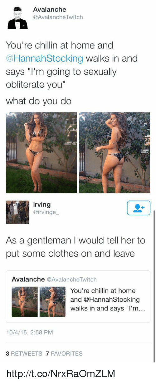 """Memes, 🤖, and Twitches: Avalanche  @AvalancheTwitch  You're chillin at home and  @Hannah Stocking walks in and  says """"I'm going to sexually  obliterate you""""  what do you do   Irving  airvinge  As a gentleman l would tell her to  put some clothes on and leave  Avalanche  @Avalanche Twitch  You're chillin at home  and @Hannah Stocking  walks in and says """"I'm...  10/4/15, 2:58 PM  3 RETWEETS  7 FAVORITES http://t.co/NrxRaOmZLM"""