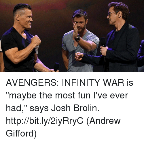 """Joshing: AVENGERS: INFINITY WAR is """"maybe the most fun I've ever had,"""" says Josh Brolin. http://bit.ly/2iyRryC  (Andrew Gifford)"""