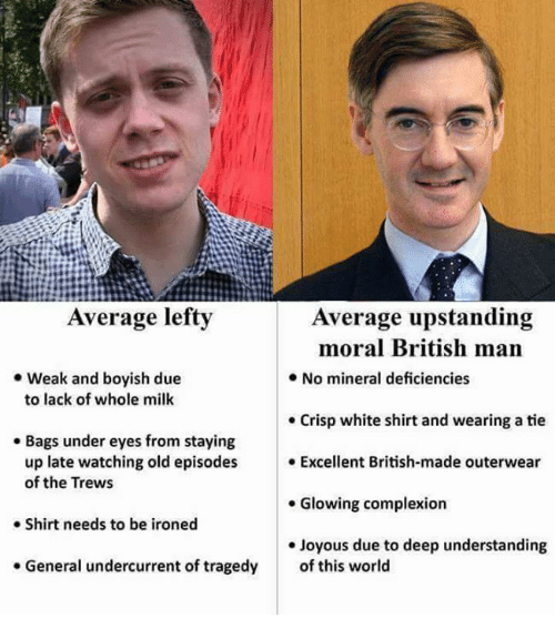 Memes, White, and World: Average lefty  Average upstanding  moral British man  .No mineral deficiencies  . Weak and boyish due  to lack of whole milk  . Crisp white shirt and wearing a tie  . Bags under eyes from staying  up late watching old episodes Excellent British-made outerwear  of the Trews  . Glowing complexion  Shirt needs to be ironed  e Joyous due to deep understanding  . General undercurrent of tragedy  of this world