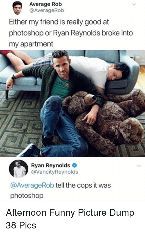 Funny, Photoshop, and Ryan Reynolds: Average Rob  @AverageRob  Either my friend is really good at  photoshop or Ryan Reynolds broke into  my apartment  Ryan Reynolds  @VancityReynolds  @AverageRob tell the cops it was  photoshop Afternoon Funny Picture Dump 38 Pics