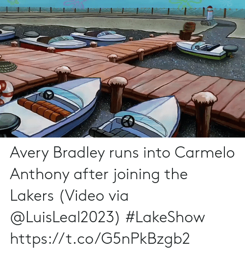 Carmelo Anthony, Los Angeles Lakers, and Sports: Avery Bradley runs into Carmelo Anthony after joining the Lakers   (Video via @LuisLeal2023) #LakeShow https://t.co/G5nPkBzgb2