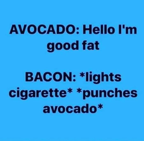 Dank, Hello, and Avocado: AVOCADO: Hello I'm  good fat  BACON: *lights  cigarette* *punches  avocado*
