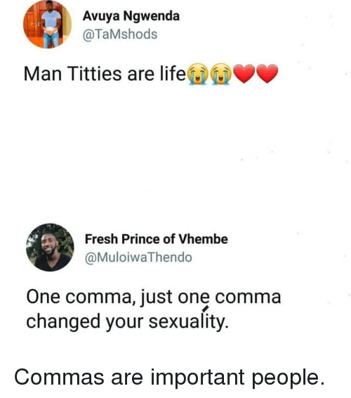 Commas: Avuya Ngwenda  @TaMshods  Man Titties are life  Fresh Prince of Vhembe  @MuloiwaThendo  One comma, just one comma  changed your sexuality Commas are important people.