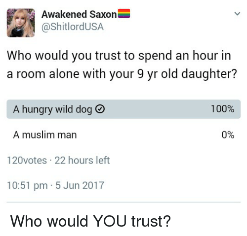 Hungryness: Awakened Saxon  @ShitlordUSA  Who would you trust to spend an hour in  a room alone with your 9 yr old daughter?  A hungry wild dog  100%  0%  A muslim man  120votes 22 hours left  10:51 pm 5 Jun 2017 Who would YOU trust?