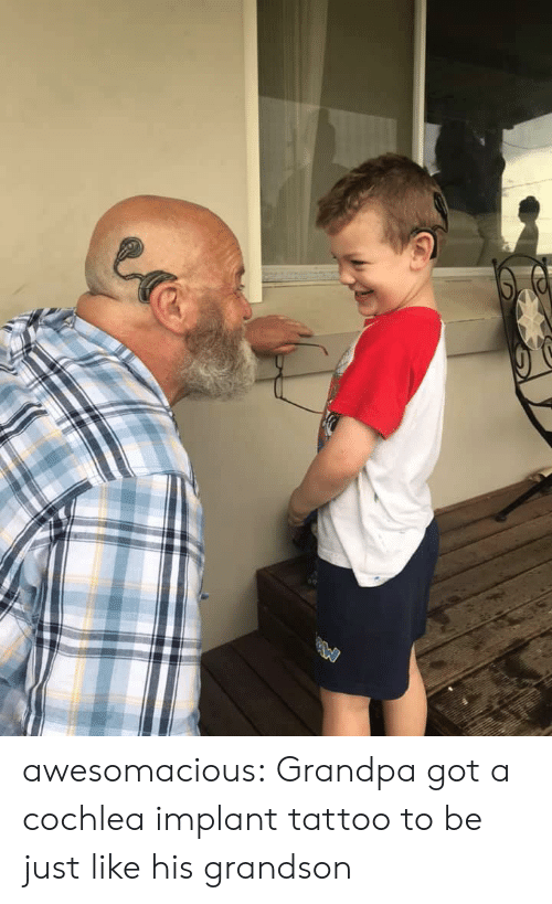 Tumblr, Grandpa, and Blog: awesomacious:  Grandpa got a cochlea implant tattoo to be just like his grandson
