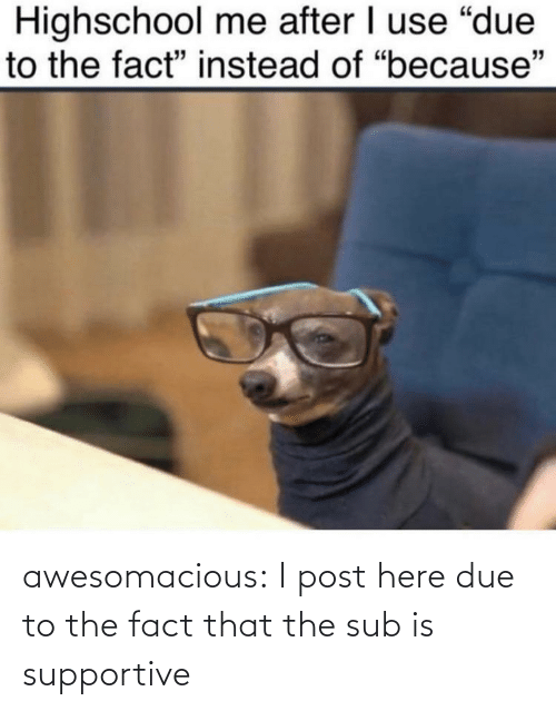 sub: awesomacious:  I post here due to the fact that the sub is supportive