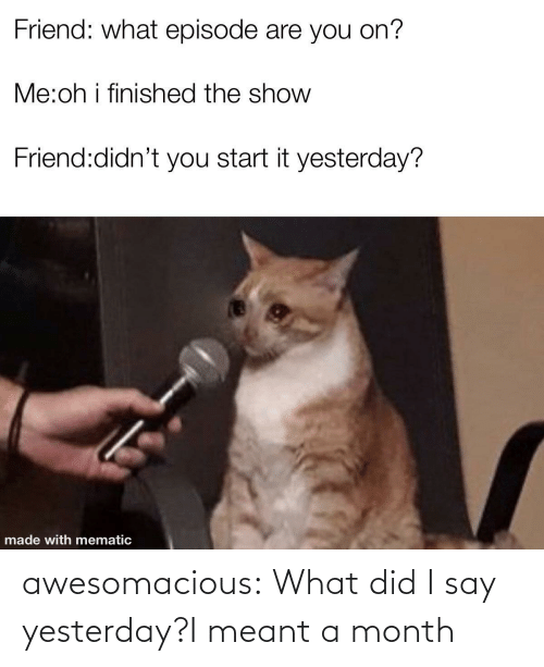 did: awesomacious:  What did I say yesterday?I meant a month