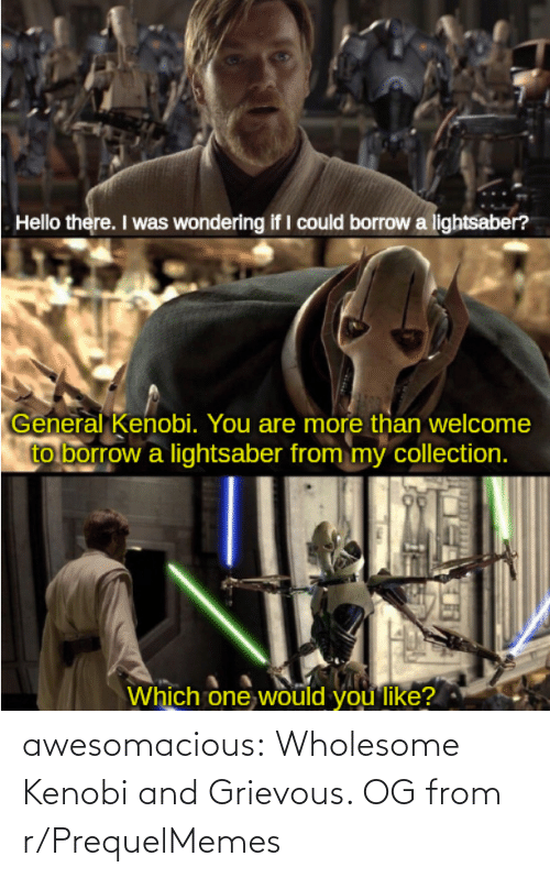 Wholesome: awesomacious:  Wholesome Kenobi and Grievous. OG from r/PrequelMemes