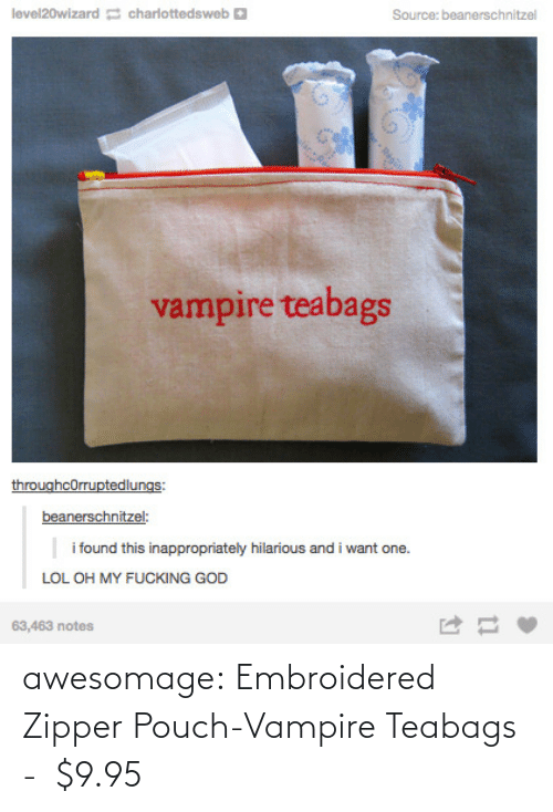 vampire: awesomage:  Embroidered Zipper Pouch-Vampire Teabags -   $9.95