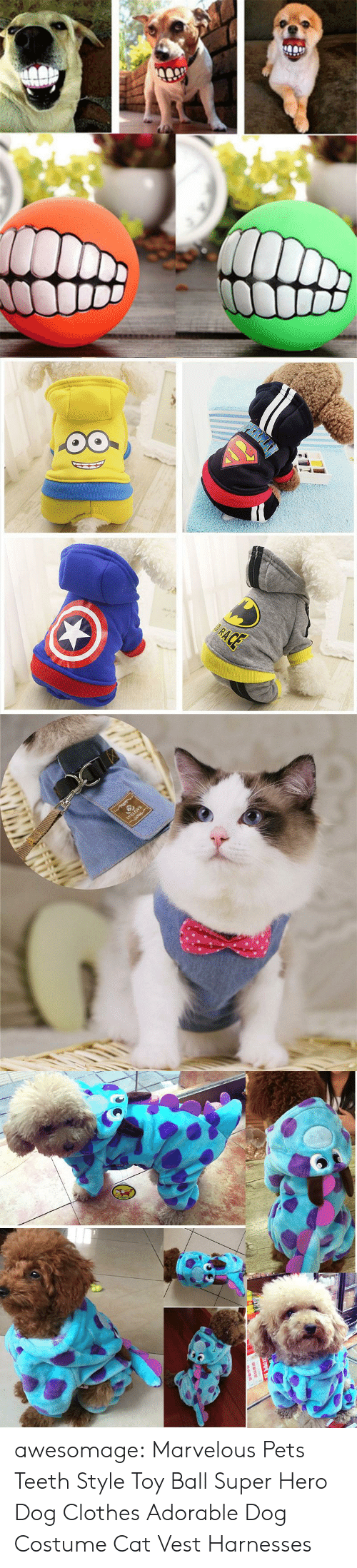 Marvelous: awesomage:      Marvelous Pets Teeth Style Toy Ball     Super Hero Dog Clothes    Adorable Dog Costume    Cat Vest Harnesses