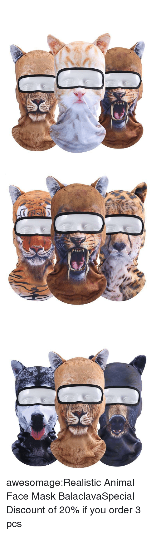 Cycling: awesomage:Realistic Animal Face Mask BalaclavaSpecial Discount of 20% if you order 3 pcs