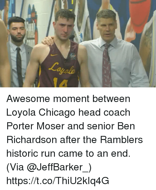 loyola: Awesome moment between Loyola Chicago head coach Porter Moser and senior Ben Richardson after the Ramblers historic run came to an end. (Via @JeffBarker_) https://t.co/ThiU2kIq4G