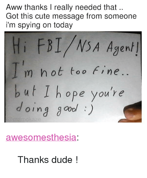 "Aww, Cute, and Dude: Aww thanks I really needed that  Got this cute message from someone  i'm spying on today  Hi FBI/NSA Agen/  m hot too Fine  but I hope you're  oing go) <p><a href=""http://awesomesthesia.tumblr.com/post/173576197324/thanks-dude"" class=""tumblr_blog"">awesomesthesia</a>:</p>  <blockquote><p>Thanks dude !</p></blockquote>"